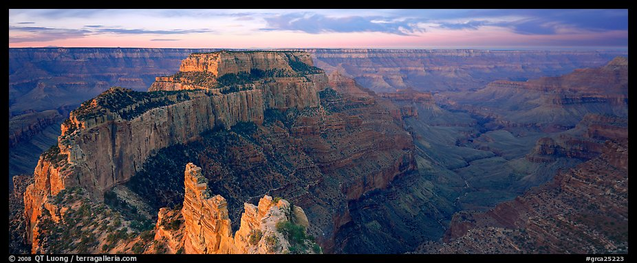 Wotan's Throne at sunrise. Grand Canyon National Park (color)