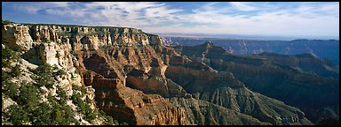 Canyon scenery from Cape Royal. Grand Canyon National Park (Panoramic color)