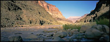 Colorado River at the confluence with Tapeats Creek. Grand Canyon National Park (Panoramic color)