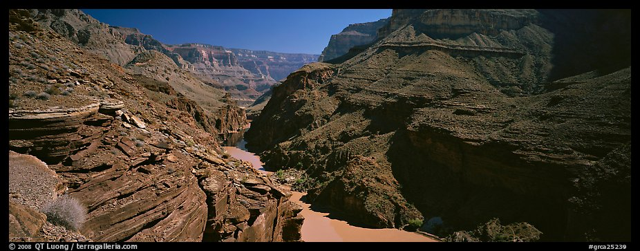 Colorado River flowing through gorge at narrowest point. Grand Canyon National Park (color)