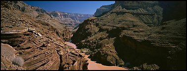 Colorado River flowing through gorge. Grand Canyon National Park (Panoramic color)