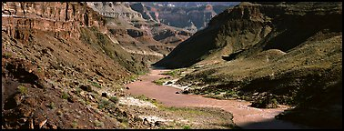 Colorado River meandering through canyon. Grand Canyon National Park (Panoramic color)
