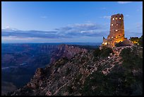 Watchtower and Desert View at dusk. Grand Canyon National Park, Arizona, USA. (color)