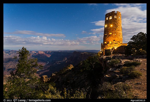 Mary Jane Colter Desert View Watchtower at night. Grand Canyon National Park (color)