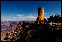 Desert View Watchtower and moonlit canyon. Grand Canyon National Park, Arizona, USA. (color)