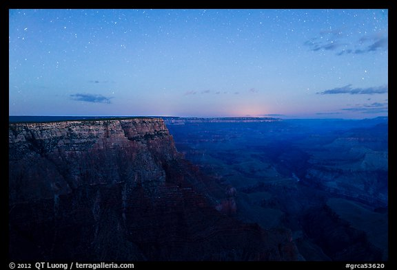 View from Moran Point with late night stars. Grand Canyon National Park (color)