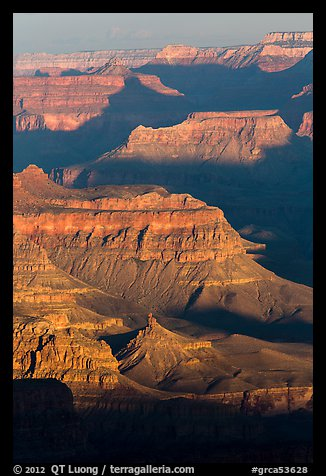 Ridges at sunrise, Moran Point. Grand Canyon National Park (color)
