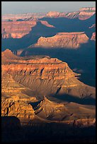 Ridges at sunrise, Moran Point. Grand Canyon National Park ( color)