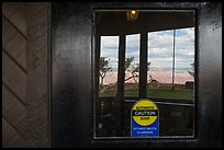 South Rim, El Tovar Hotel window reflexion. Grand Canyon National Park, Arizona, USA. (color)