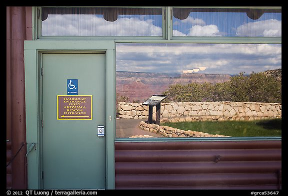 South Rim, Bright Angel lodge window reflexion. Grand Canyon National Park (color)