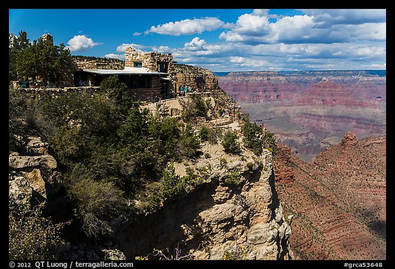 Lookout Studio designed by Mary Coulter to blend with surroundings. Grand Canyon National Park (color)