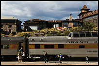 Grand Canyon train and El Tovar Hotel. Grand Canyon National Park, Arizona, USA. (color)