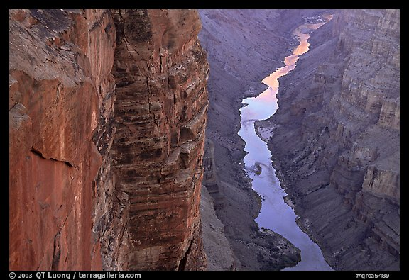 Colorado River and Cliffs at Toroweap, late afternoon. Grand Canyon National Park (color)