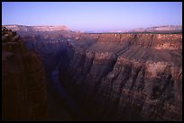 Narrow gorge of  Colorado River at Toroweap, dusk. Grand Canyon National Park, Arizona, USA. (color)