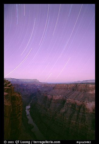 Star trails and narrow gorge of  Colorado River at Toroweap. Grand Canyon National Park (color)