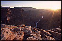 Cracked rocks and Colorado River at Toroweap, sunset. Grand Canyon National Park, Arizona, USA. (color)