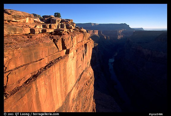 Cliff and Colorado River at Toroweap, sunrise. Grand Canyon National Park (color)