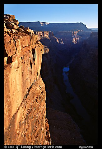 Vertical cliff and Colorado River at Toroweap. Grand Canyon National Park (color)