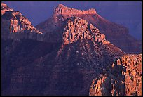 Towers seen from Point Sublime, sunset. Grand Canyon National Park, Arizona, USA.