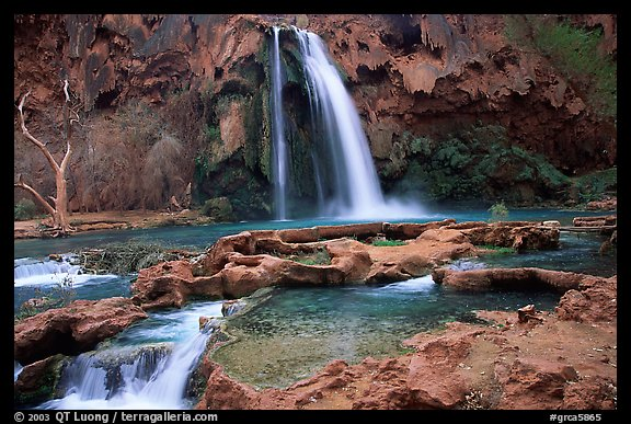 Travertine formations and Havasu falls. Grand Canyon National Park, Arizona, USA.