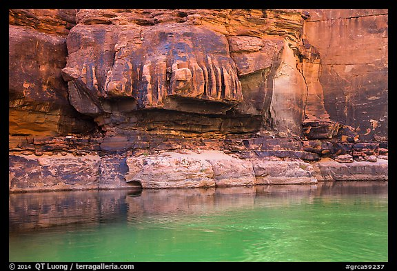 Redwall limestone and green waters, Colorado River. Grand Canyon National Park (color)