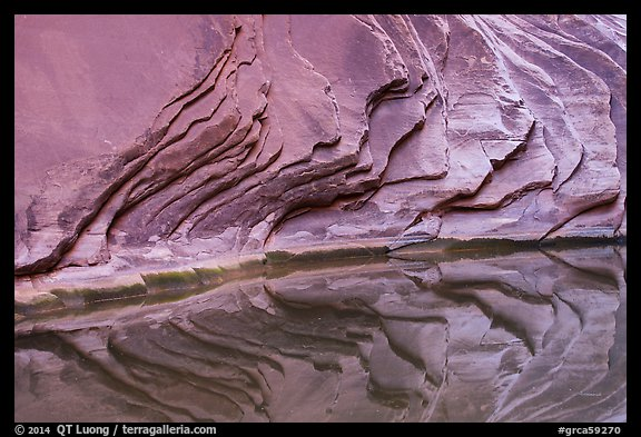 Sandstone rock layers and reflections, North Canyon. Grand Canyon National Park (color)