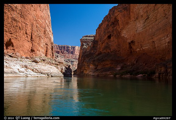 River-level view of redwall limestone canyon walls dropping straight into Colorado River. Grand Canyon National Park (color)