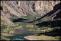 Rafts on meanders of the Colorado River at Nankoweap. Grand Canyon National Park ( color)