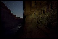 Ancient Nankoweap granaries above the Colorado River at night. Grand Canyon National Park ( color)
