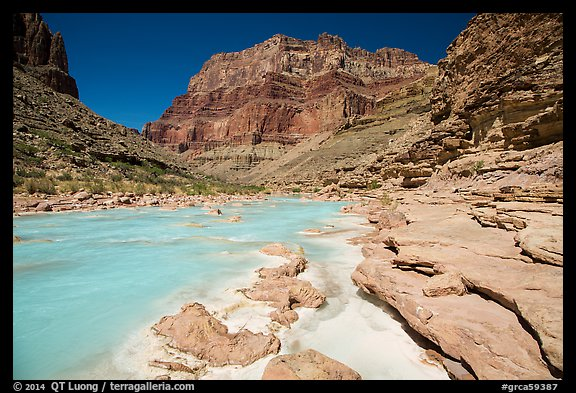 Little Colorodo River flows turquoise on its way to Colorado River below Chuar Butte. Grand Canyon National Park (color)