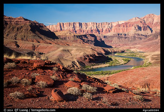 Colorado River bend below Palissades of the Desert. Grand Canyon National Park (color)