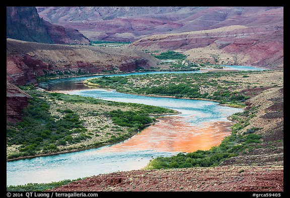 Colorado River meanders in most open part of Grand Canyon. Grand Canyon National Park (color)