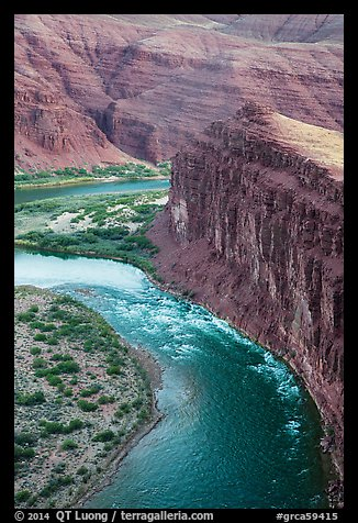 Unkar Rapids and Colorado River from above. Grand Canyon National Park (color)