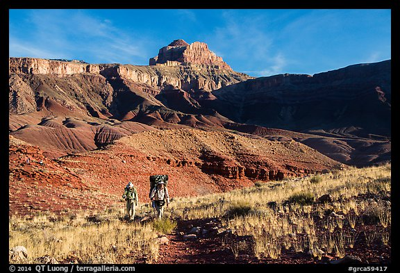 Backpackers, Escalante Route trail. Grand Canyon National Park (color)