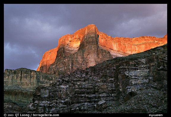 Canyon walls seen from Tapeats Creek, sunset. Grand Canyon National Park, Arizona, USA.