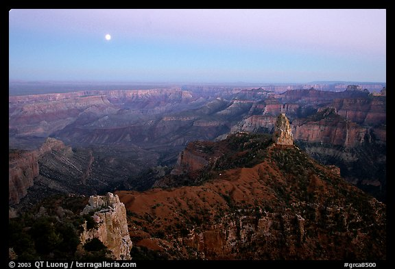 Moonrise, Point Imperial. Grand Canyon National Park (color)