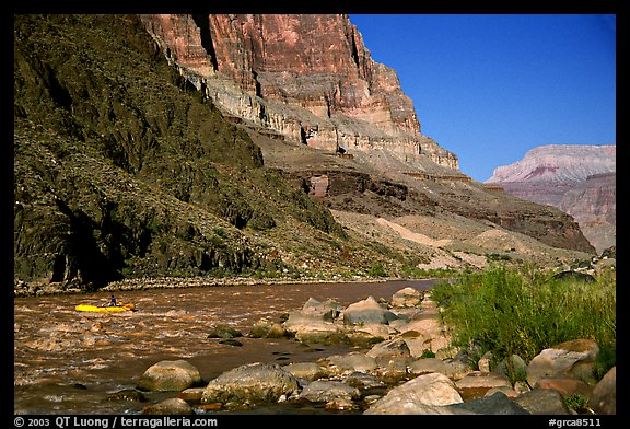 Colorado River with raft. Grand Canyon National Park (color)