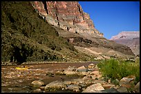 Colorado River with raft. Grand Canyon National Park, Arizona, USA.