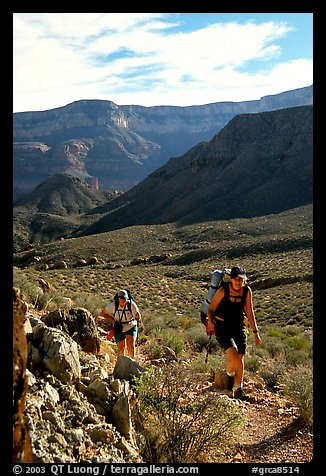 Backpackers in Surprise Valley, Thunder River and Deer Creek trail. Grand Canyon National Park, Arizona, USA.