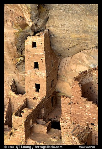 Square Tower house,  park tallest ruin, afternoon. Mesa Verde National Park (color)