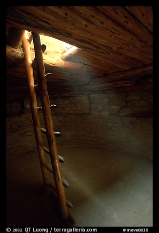 Ladder through a smoke hole in Spruce Tree house. Mesa Verde National Park (color)