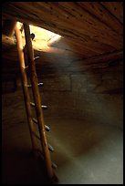 Ladder through a smoke hole in Spruce Tree house. Mesa Verde National Park, Colorado, USA. (color)