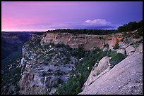 Square Tower house and Long Mesa, dusk. Mesa Verde National Park, Colorado, USA. (color)