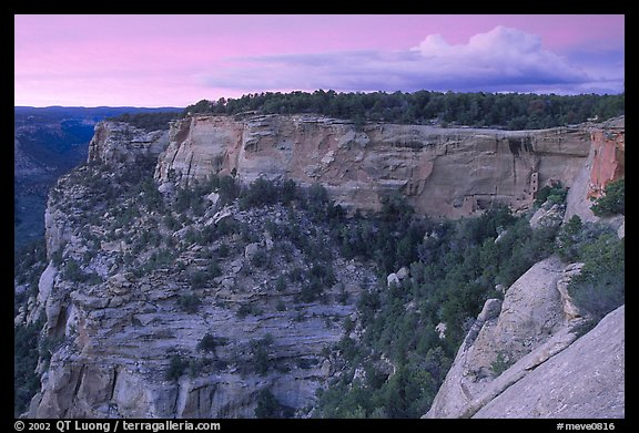 Square Tower house and Long Mesa, dusk. Mesa Verde National Park, Colorado, USA.