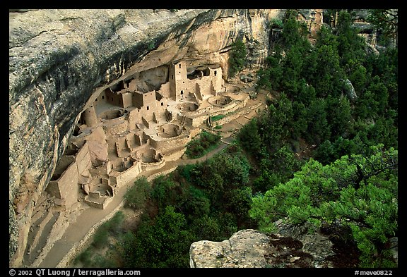 Cliff Palace from above, late afternoon. Mesa Verde National Park (color)