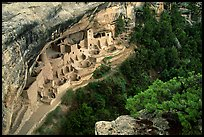 Cliff Palace from above, late afternoon. Mesa Verde National Park, Colorado, USA. (color)
