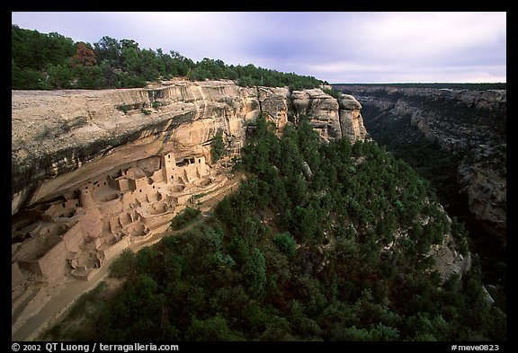 Cliff Palace and Chaplin Mesa, late afternoon. Mesa Verde National Park (color)