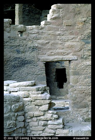 Windows in Spruce Tree House. Mesa Verde National Park (color)