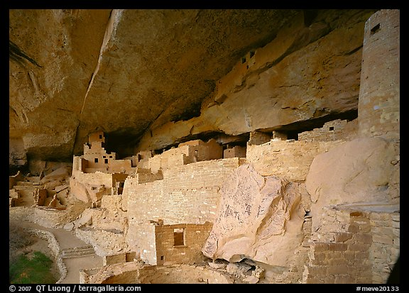 Cliff Palace Anasazi dwelling. Mesa Verde National Park (color)