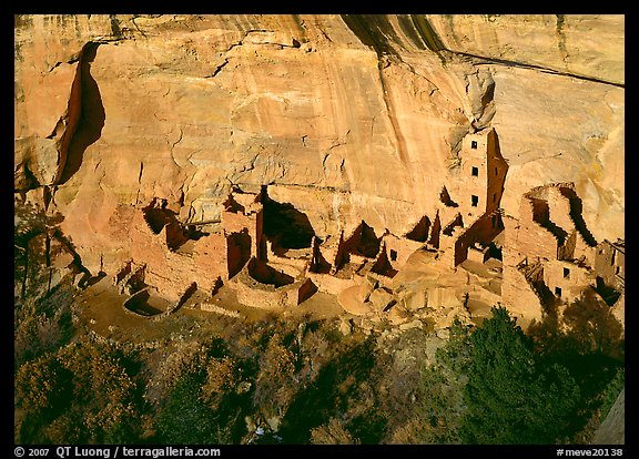 Square Tower house, the park's tallest ruin, afternoon. Mesa Verde National Park (color)
